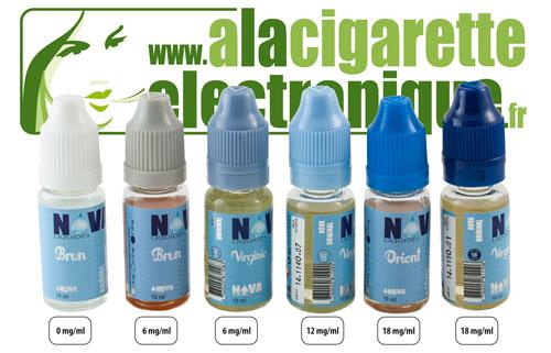 Code couleur des bouchons de flacons d'e-liquide Nova Liquides et taux de nicotine correspondants.